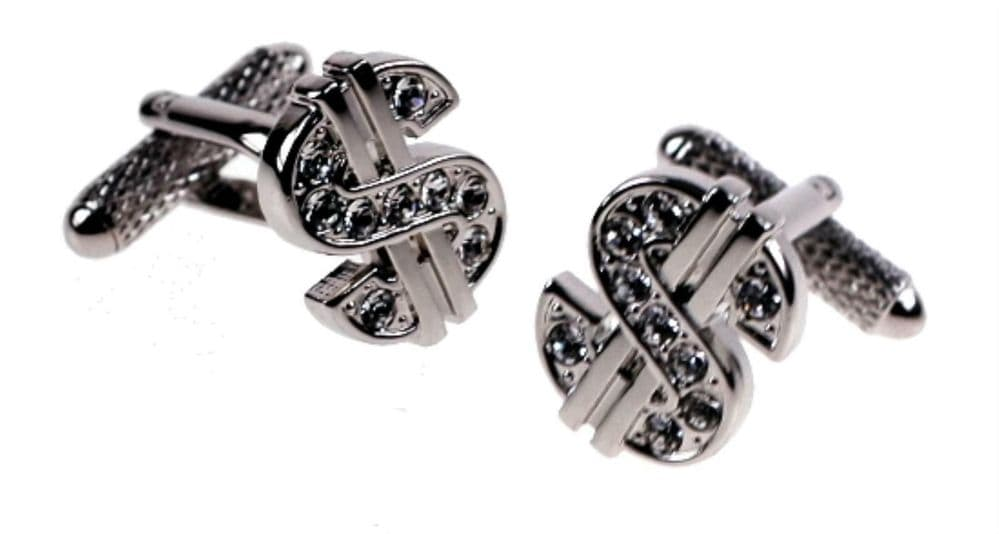Novelty Faux Diamond Dollar Sign Cufflink Gift Polished Stainless Steel CK856